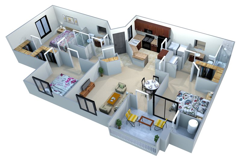 3 Bedrooms 2 Bathrooms Apartment for rent at San Portella in Tempe, AZ