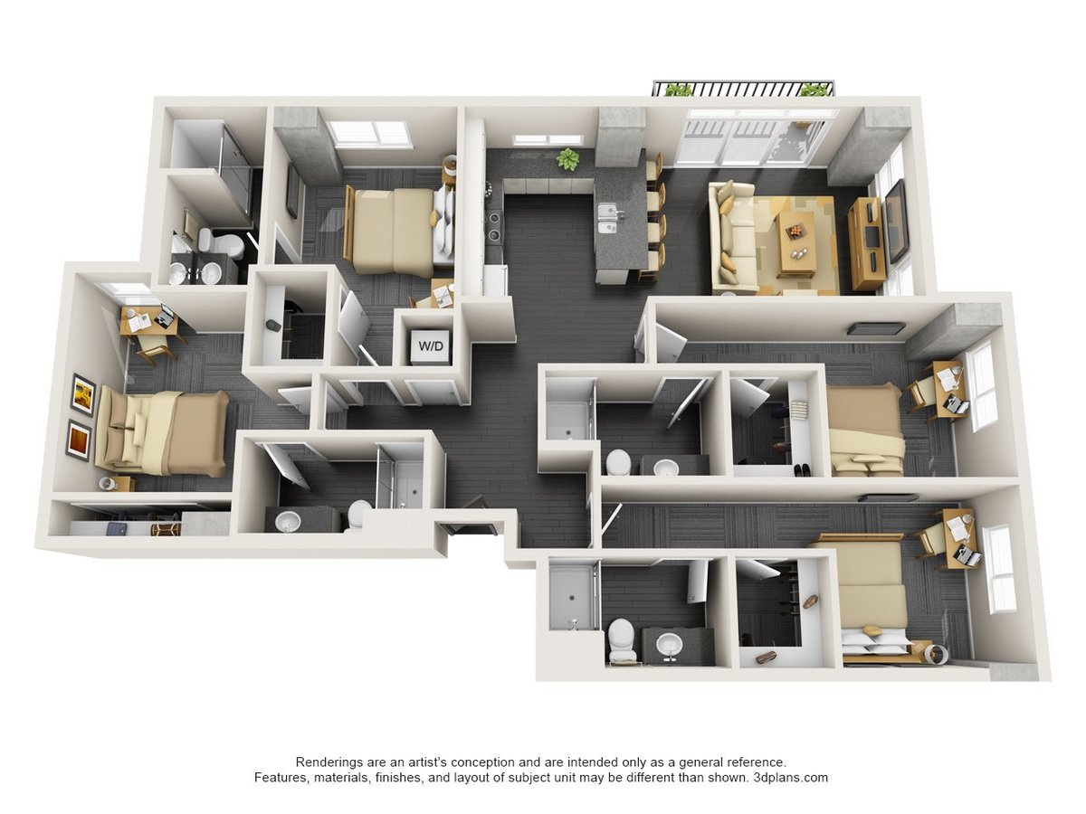 4 Bedrooms 4+ Bathrooms Apartment for rent at The Vertex in Tempe, AZ