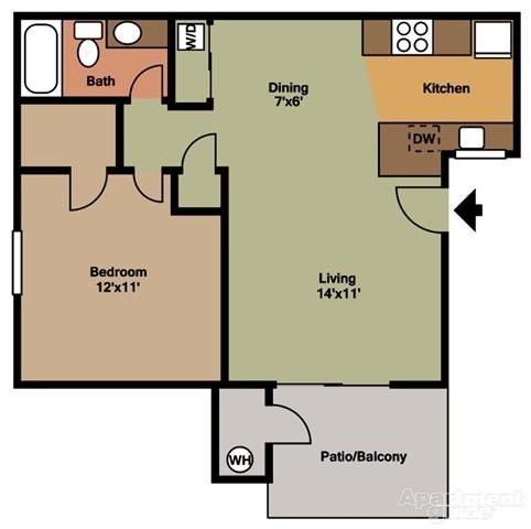 1 Bedroom 1 Bathroom Apartment for rent at Ponderosa Ranch in Tempe, AZ