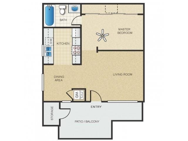 Studio 1 Bathroom Apartment for rent at Mission Springs in Tempe, AZ