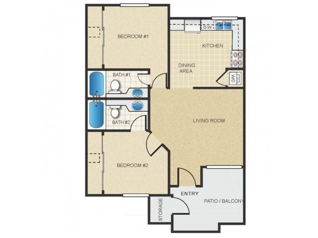 2 Bedrooms 2 Bathrooms Apartment for rent at Mission Springs in Tempe, AZ