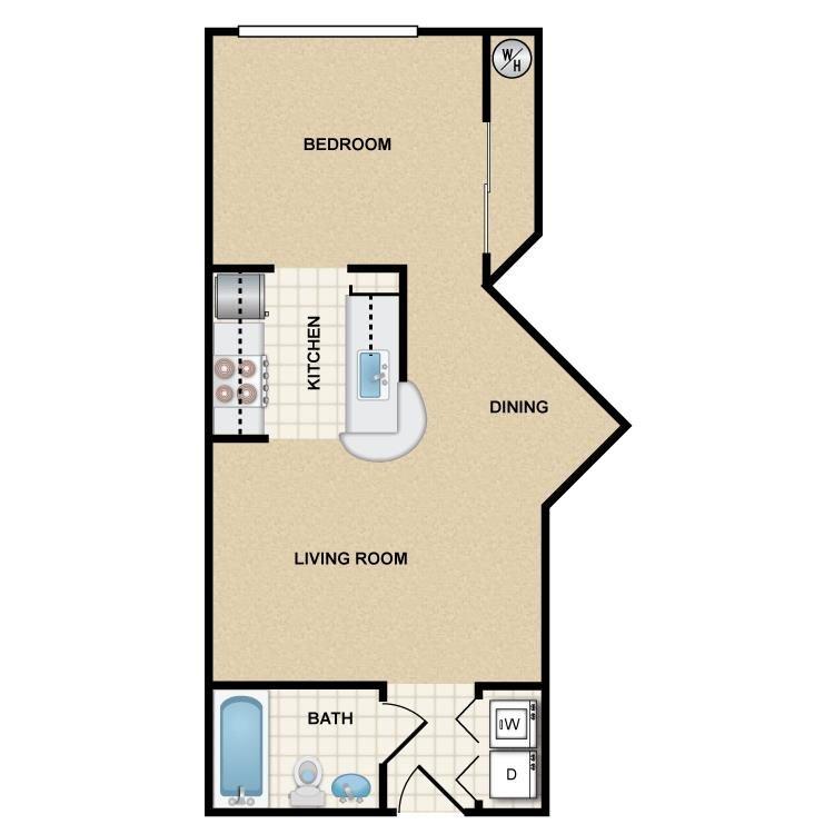 Studio 1 Bathroom Apartment for rent at Ten 01 Apartments in Tempe, AZ