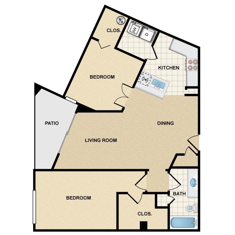 2 Bedrooms 1 Bathroom Apartment for rent at Ten 01 Apartments in Tempe, AZ