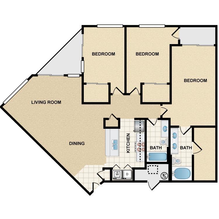 3 Bedrooms 2 Bathrooms Apartment for rent at Ten 01 Apartments in Tempe, AZ