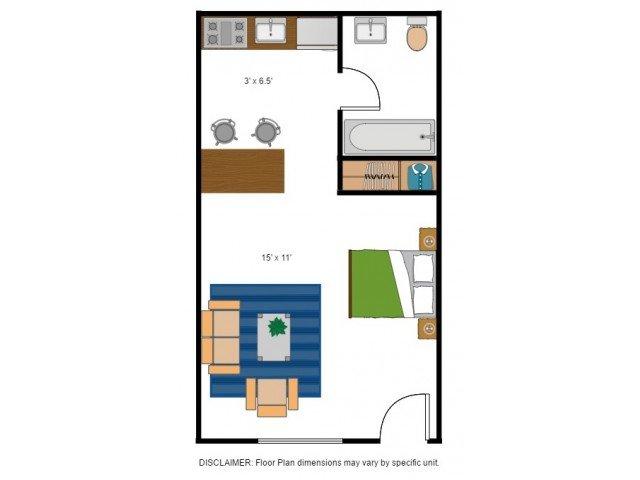 Studio 1 Bathroom Apartment for rent at Amber Ridge Apartments in Richmond, VA