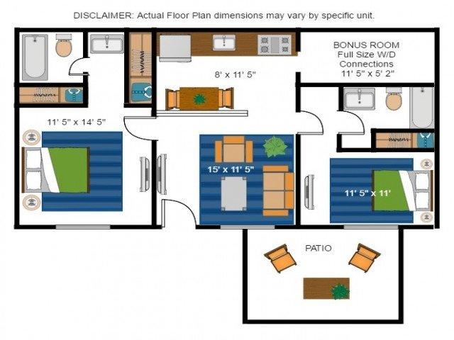 2 Bedrooms 2 Bathrooms Apartment for rent at Amber Ridge Apartments in Richmond, VA