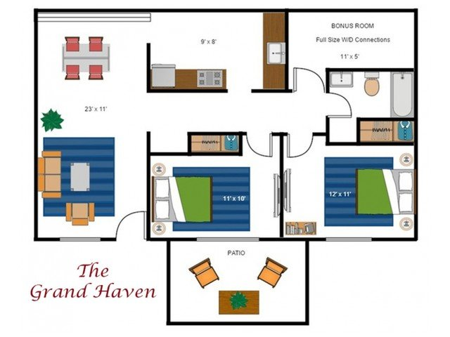 2 Bedrooms 1 Bathroom Apartment for rent at Aspen Grove Apartments in Marysville, MI