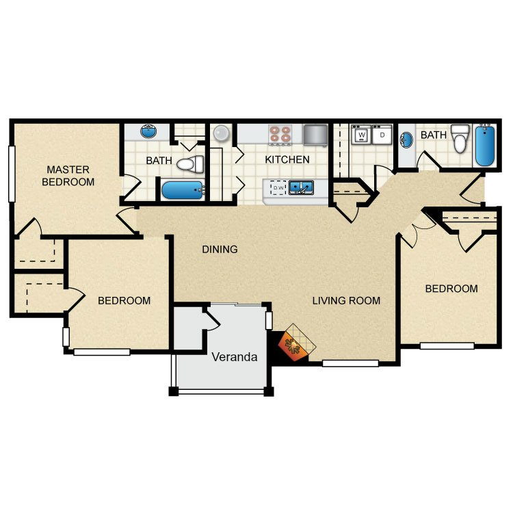 3 Bedrooms 2 Bathrooms Apartment for rent at Thorncroft Farms in Hillsboro, OR