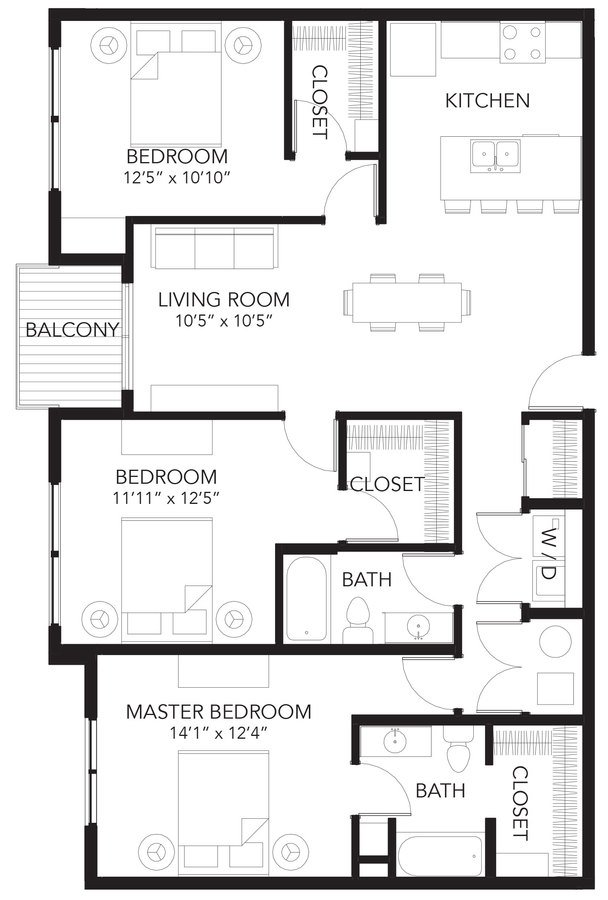 3 Bedrooms 2 Bathrooms Apartment for rent at Vue Apartments in Des Moines, IA