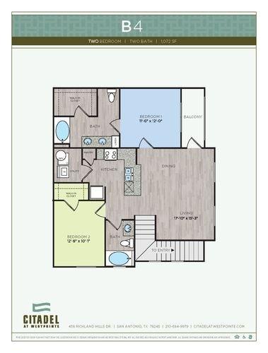 2 Bedrooms 2 Bathrooms Apartment for rent at Citadel At Westpointe in San Antonio, TX