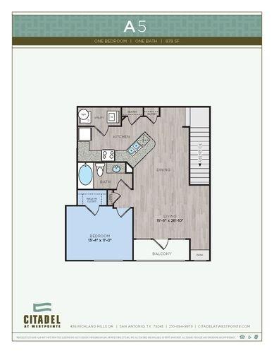 1 Bedroom 1 Bathroom Apartment for rent at Citadel At Westpointe in San Antonio, TX