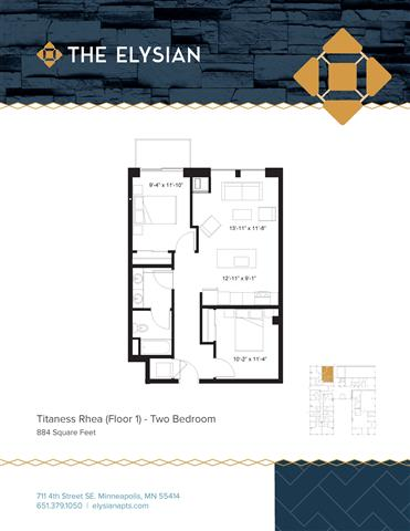 2 Bedrooms 1 Bathroom Apartment for rent at The Elysian in Minneapolis, MN