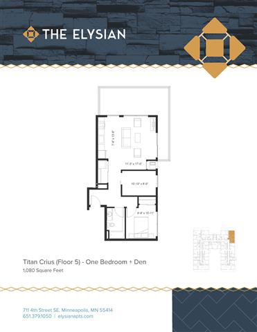 1 Bedroom 1 Bathroom Apartment for rent at The Elysian in Minneapolis, MN