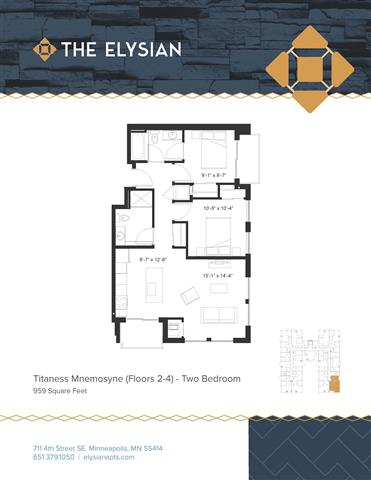 2 Bedrooms 2 Bathrooms Apartment for rent at The Elysian in Minneapolis, MN