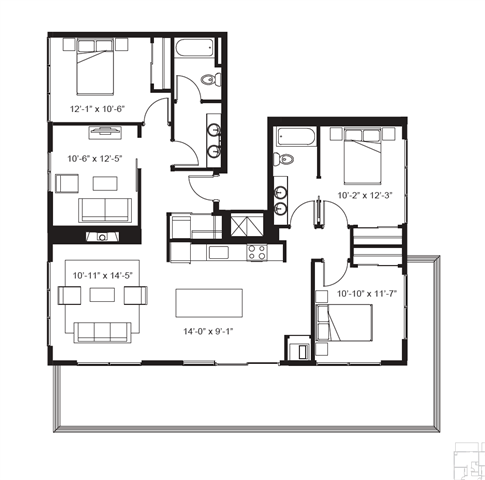3 Bedrooms 2 Bathrooms Apartment for rent at The Elysian in Minneapolis, MN