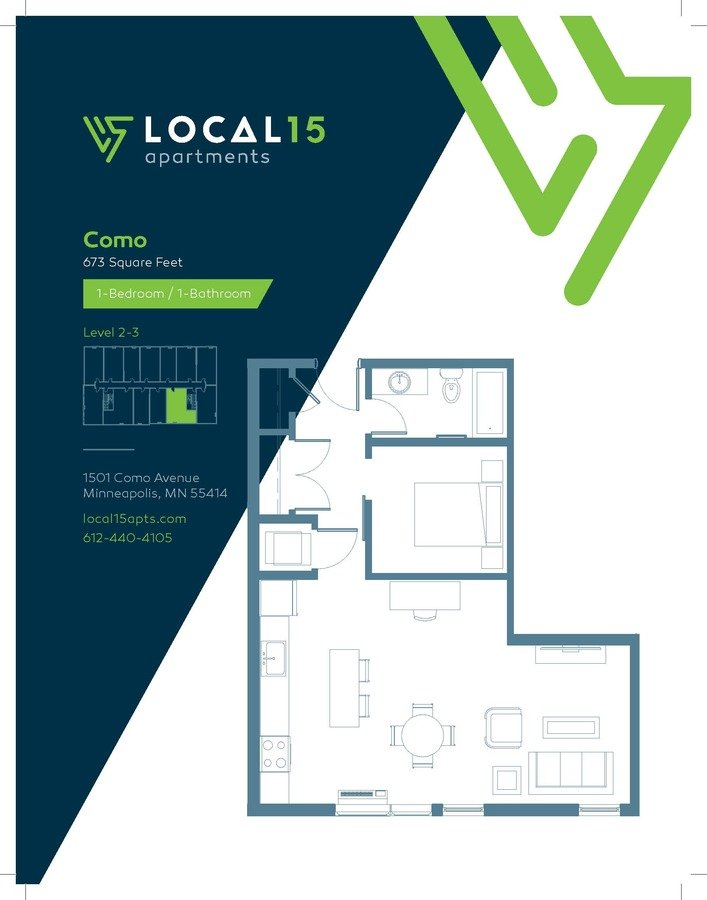 1 Bedroom 1 Bathroom Apartment for rent at Local15 in Minneapolis, MN