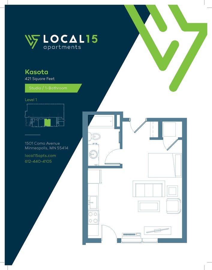 Studio 1 Bathroom Apartment for rent at Local15 in Minneapolis, MN