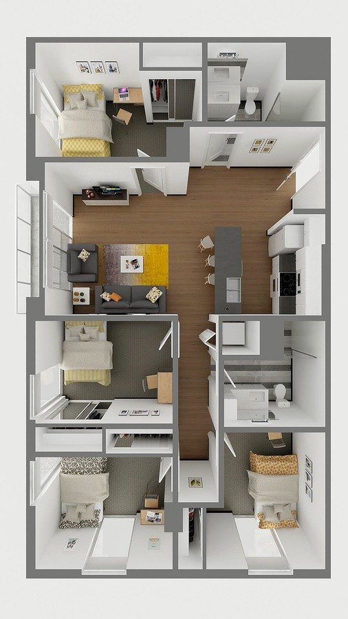 4 Bedrooms 2 Bathrooms Apartment for rent at Sol Y Luna in Tucson, AZ