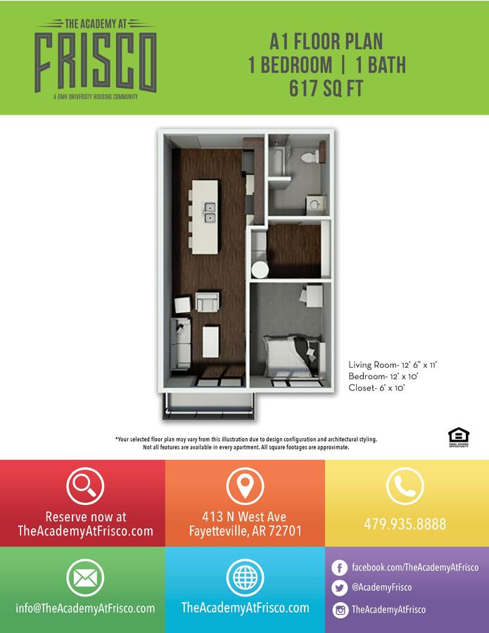 1 Bedroom 1 Bathroom Apartment for rent at The Academy At Frisco in Fayetteville, AR