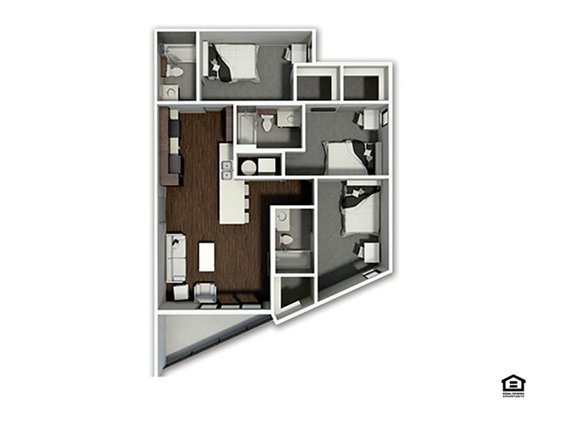 3 Bedrooms 3 Bathrooms Apartment for rent at The Academy At Frisco in Fayetteville, AR
