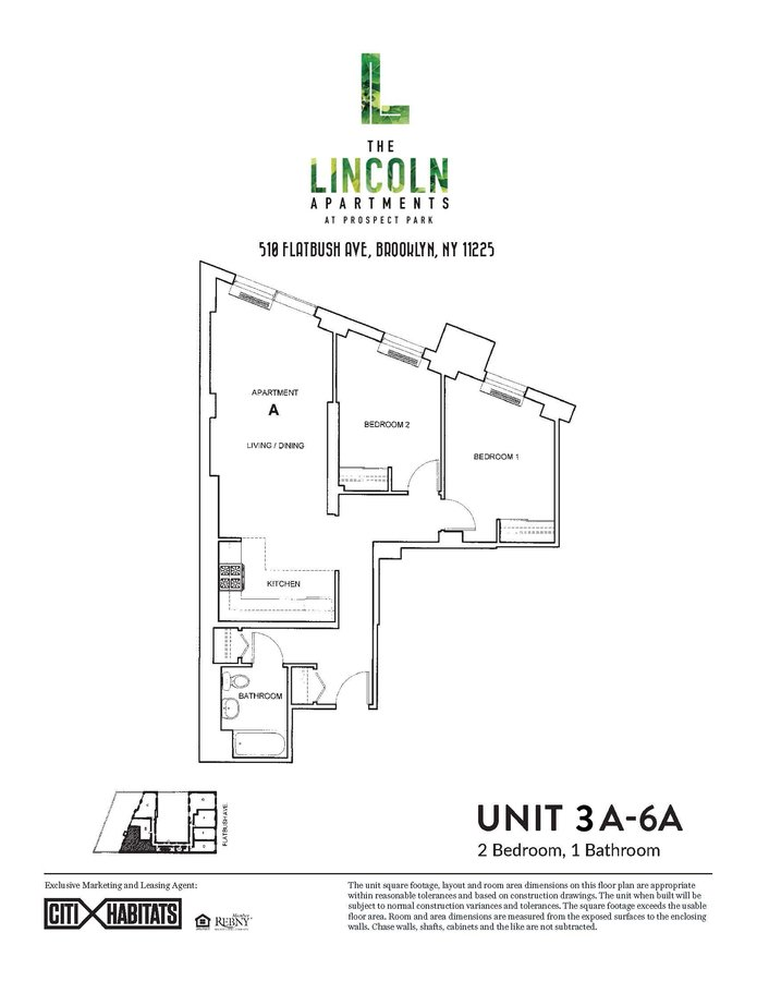 2 Bedrooms 1 Bathroom Apartment for rent at The Lincoln Apartments in Brooklyn, NY