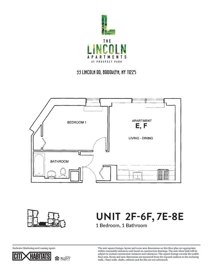 1 Bedroom 1 Bathroom Apartment for rent at The Lincoln Apartments in Brooklyn, NY