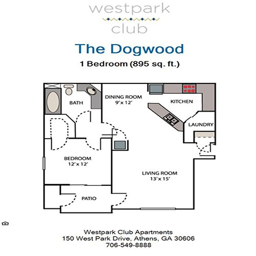 1 Bedroom 1 Bathroom Apartment for rent at Westpark Club in Athens, GA