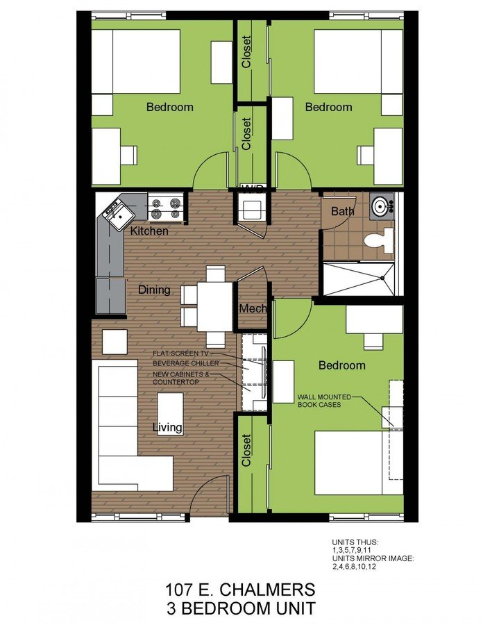 3 Bedrooms 1 Bathroom Apartment for rent at Charmor Apartments in Champaign, IL