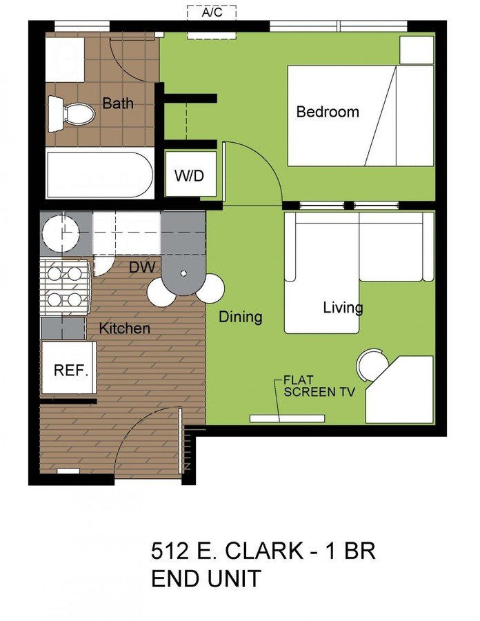 1 Bedroom 1 Bathroom Apartment for rent at 512 E Clark St in Champaign, IL