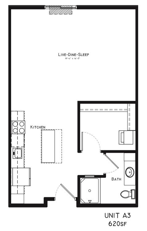Studio 1 Bathroom Apartment for rent at Square At 48 in Lincoln, NE