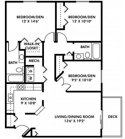 3 Bedrooms 2 Bathrooms Apartment for rent at Southwest Gables in Omaha, NE