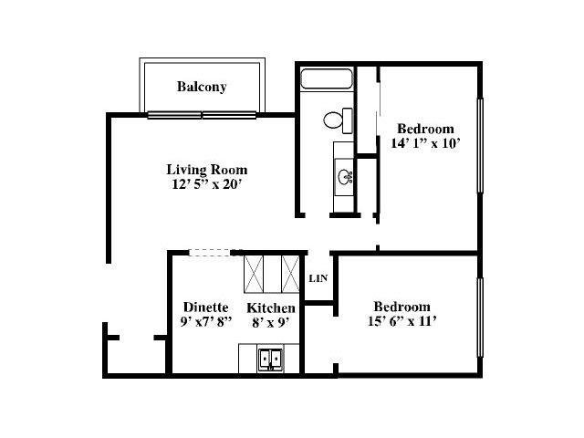 2 Bedrooms 1 Bathroom Apartment for rent at Old Mill Apartments in Omaha, NE