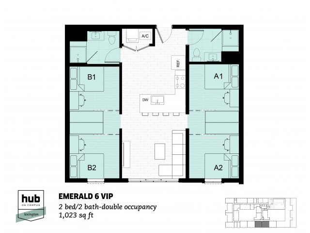 2 Bedrooms 2 Bathrooms Apartment for rent at Hub On Campus Lexington in Lexington, KY