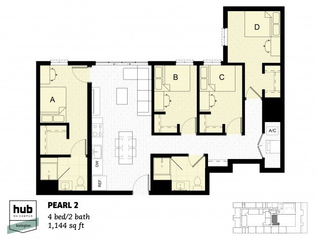 4 Bedrooms 2 Bathrooms Apartment for rent at Hub On Campus Lexington in Lexington, KY