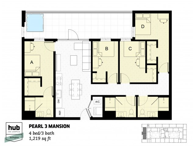 4 Bedrooms 3 Bathrooms Apartment for rent at Hub On Campus Lexington in Lexington, KY