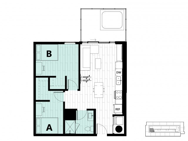 2 Bedrooms 1 Bathroom Apartment for rent at Hub on Campus Gainesville University in Gainesville, FL