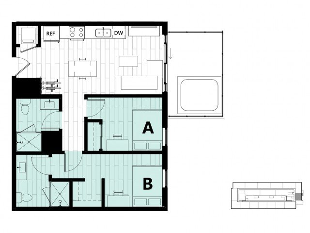 2 Bedrooms 2 Bathrooms Apartment for rent at Hub on Campus Gainesville University in Gainesville, FL