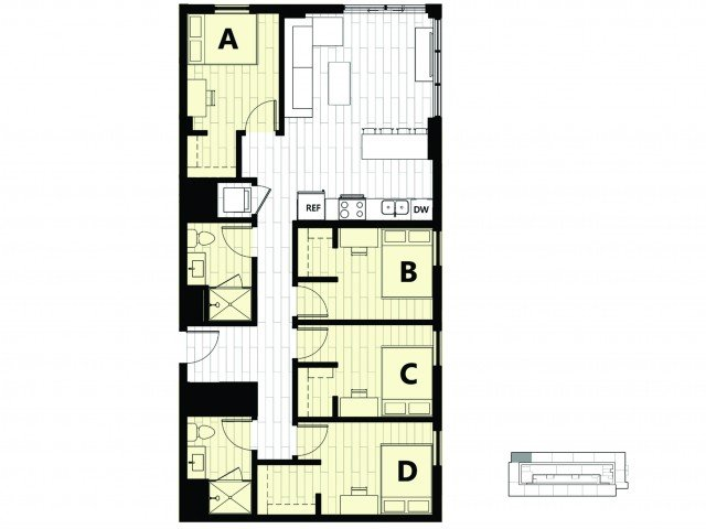 4 Bedrooms 2 Bathrooms Apartment for rent at Hub on Campus Gainesville University in Gainesville, FL