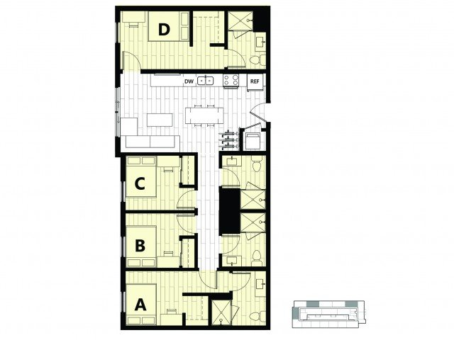 4 Bedrooms 4+ Bathrooms Apartment for rent at Hub on Campus Gainesville University in Gainesville, FL