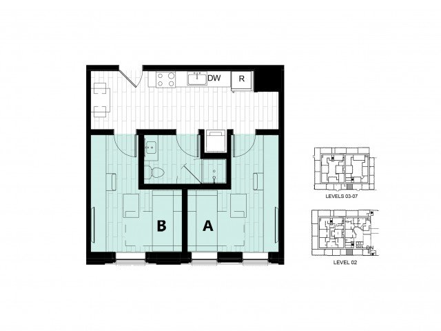 2 Bedrooms 1 Bathroom Apartment for rent at Hub On Campus Gainesville 3rd Avenue in Gainesville, FL