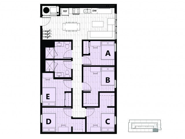 5 Bedrooms 2 Bathrooms Apartment for rent at Hub on Campus Gainesville University in Gainesville, FL