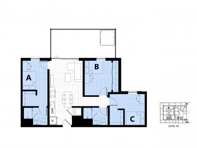 3 Bedrooms 2 Bathrooms Apartment for rent at Hub On Campus Gainesville 3rd Avenue in Gainesville, FL