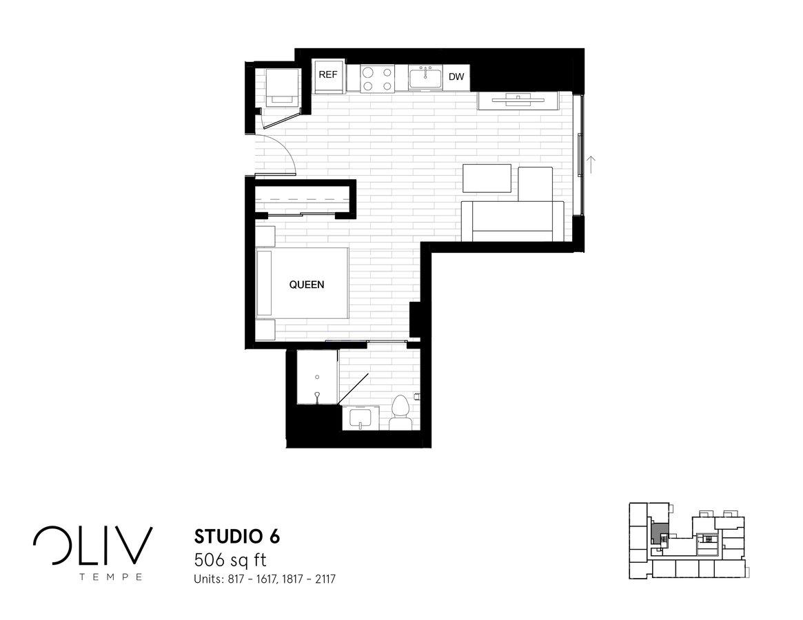 Studio 1 Bathroom Apartment for rent at ōliv Tempe in Tempe, AZ