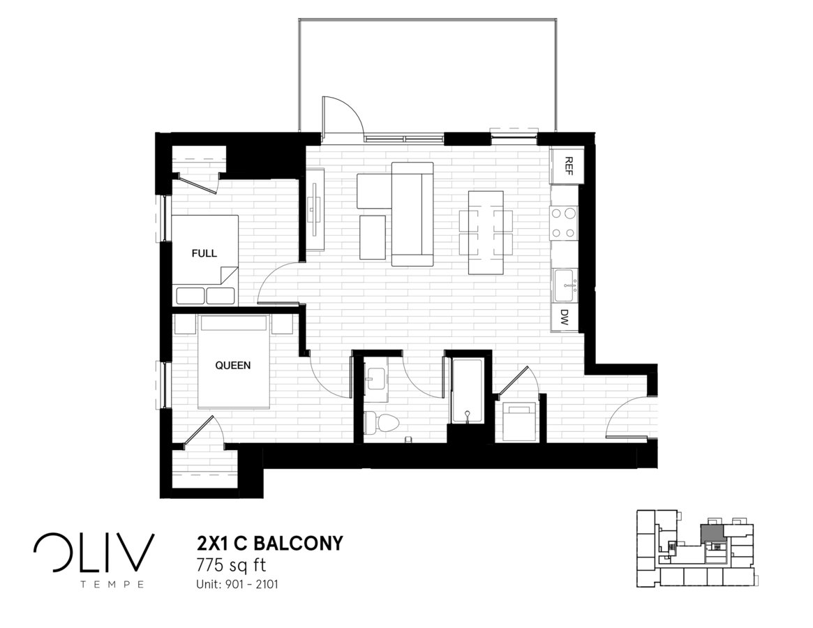 2 Bedrooms 1 Bathroom Apartment for rent at ōliv Tempe in Tempe, AZ