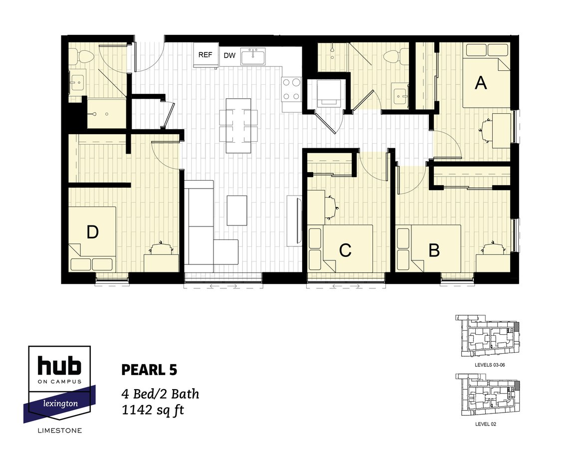 4 Bedrooms 2 Bathrooms Apartment for rent at Hub On Campus Lexington Limestone in Lexington, KY