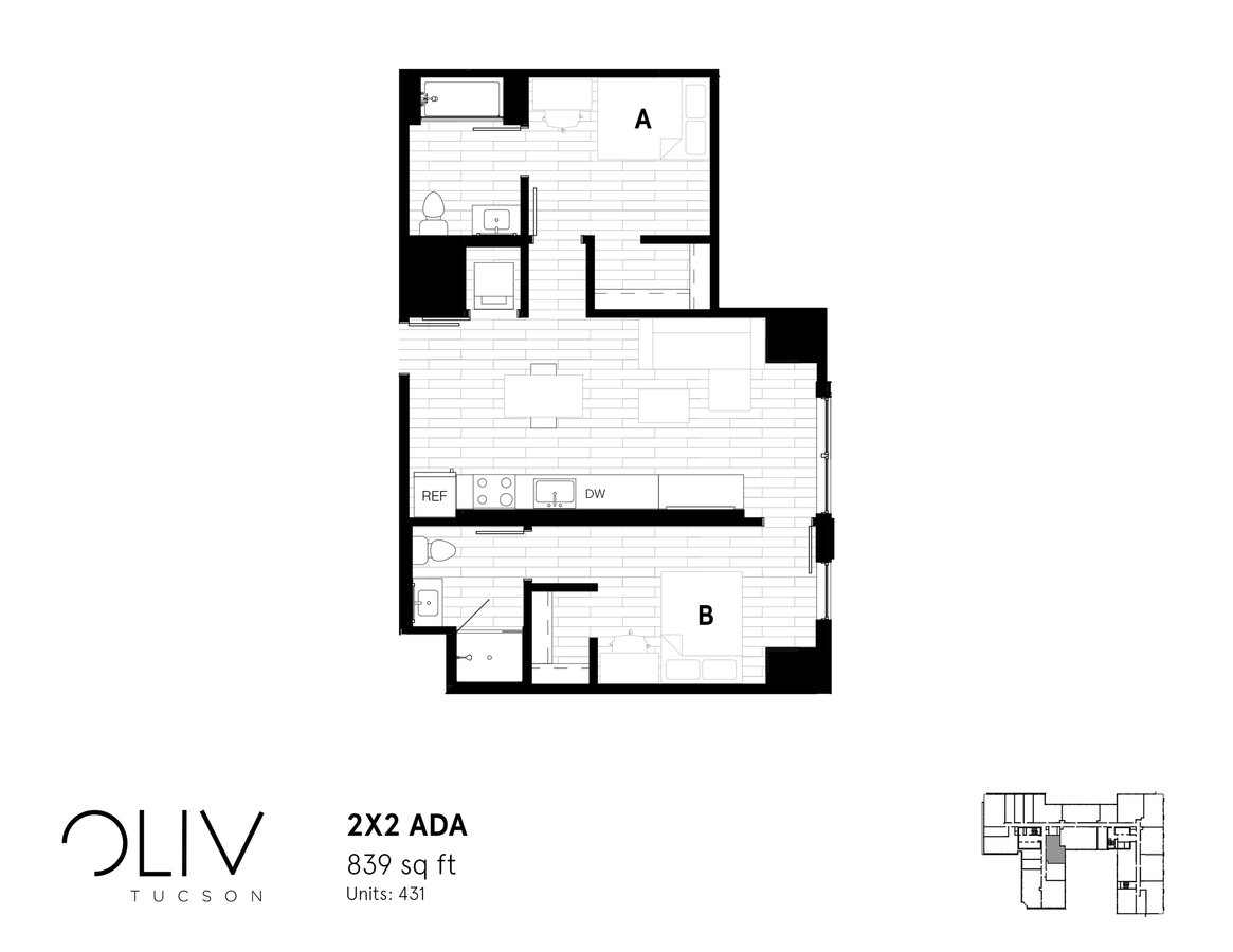 2 Bedrooms 2 Bathrooms Apartment for rent at ōliv Tucson in Tucson, AZ