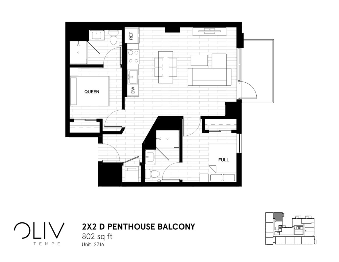 2 Bedrooms 2 Bathrooms Apartment for rent at ōliv Tempe in Tempe, AZ
