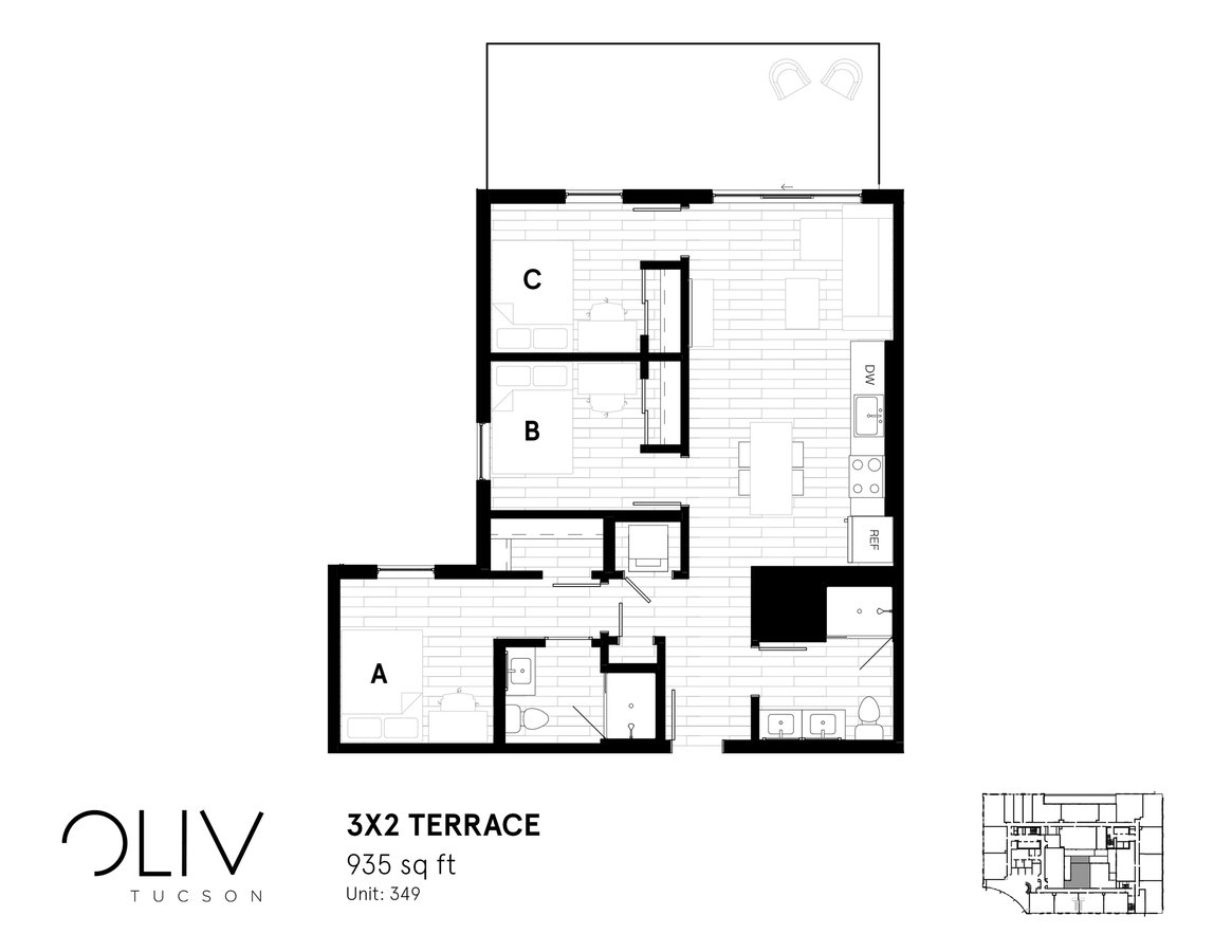 3 Bedrooms 2 Bathrooms Apartment for rent at ōliv Tucson in Tucson, AZ