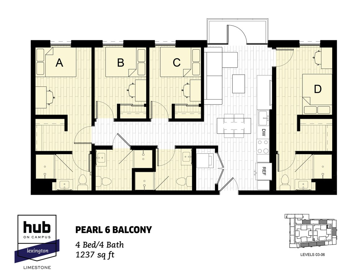 4 Bedrooms 4+ Bathrooms Apartment for rent at Hub On Campus Lexington Limestone in Lexington, KY