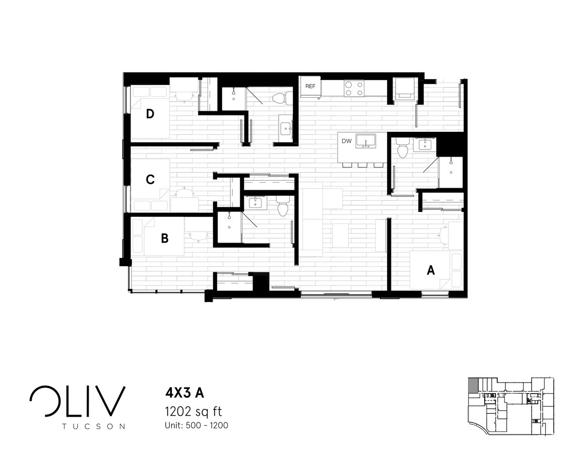 4 Bedrooms 3 Bathrooms Apartment for rent at ōliv Tucson in Tucson, AZ